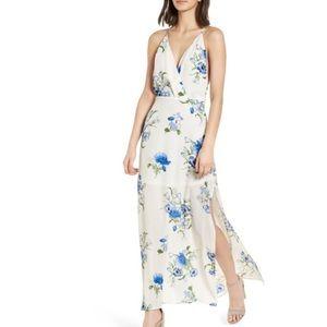 Lush surplice floral v-neck maxi dress NWT large